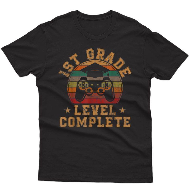 1st Grade Level Complete First Grade Graduation Video Gamer T-shirt