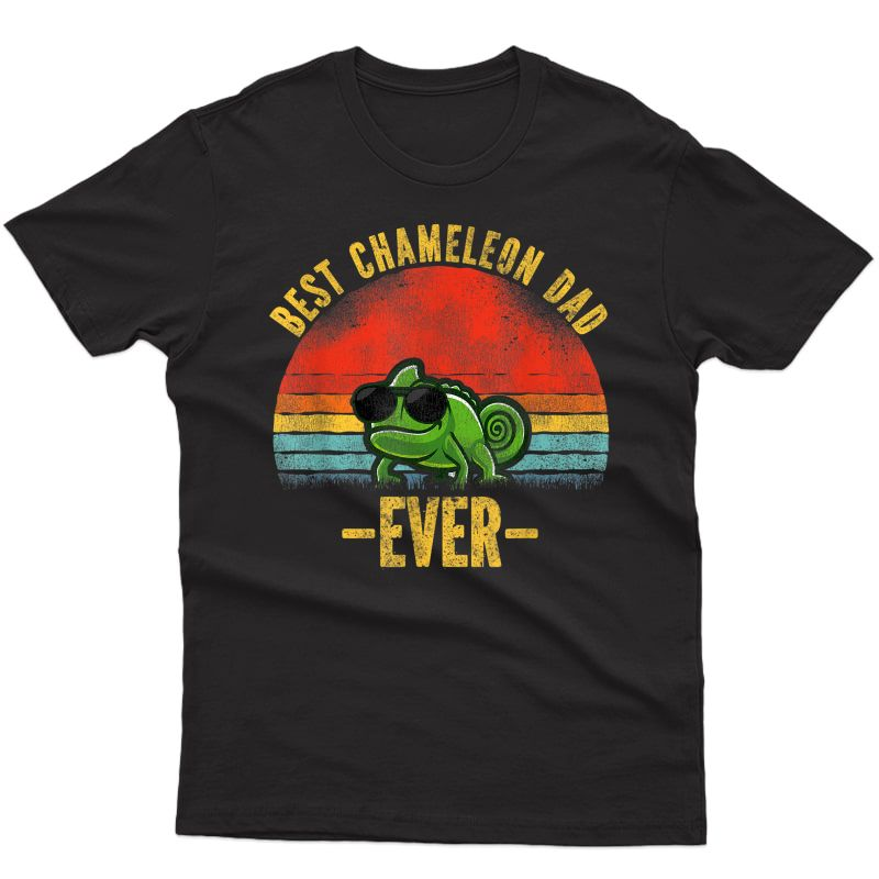 Best Chameleon Dad Ever Vintage Retro Sunset T-shirt