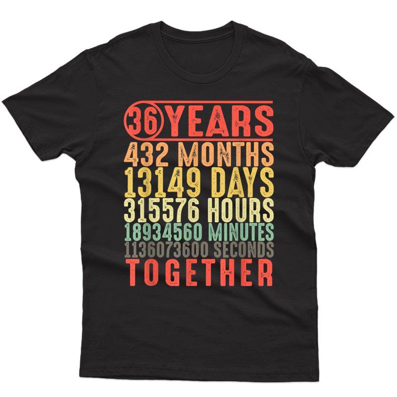 Best Husband Wife Christmas Gift 36th Wedding Anniversary T-shirt