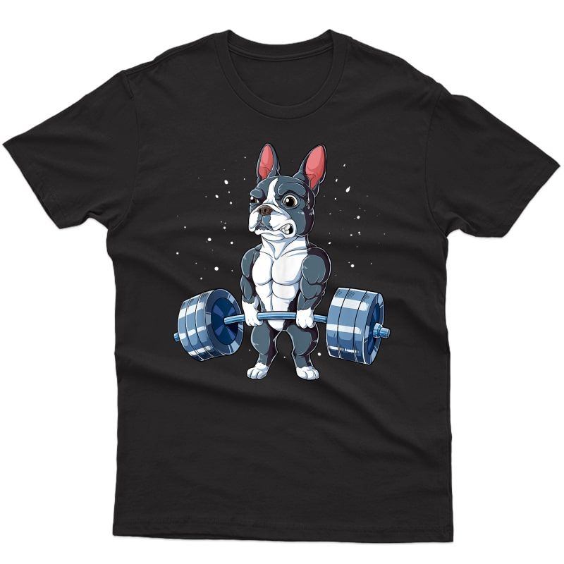 Boston Terrier Weightlifting Funny Deadlift Ness Gym Tank Top Shirts