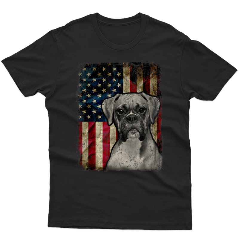 Boxer Dog 4th Of July American Flag Patriotic Gift T-shirt