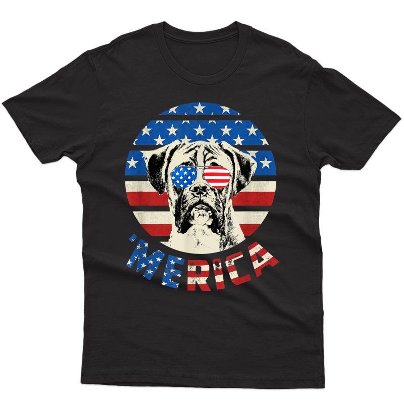 Boxer Dog American Flag Merica Retro Usa Sunglasses T-shirt