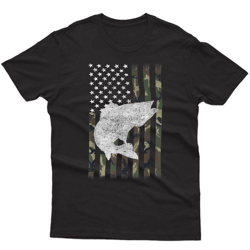 Camouflage Flag Walleye Fishing Angler T-shirt