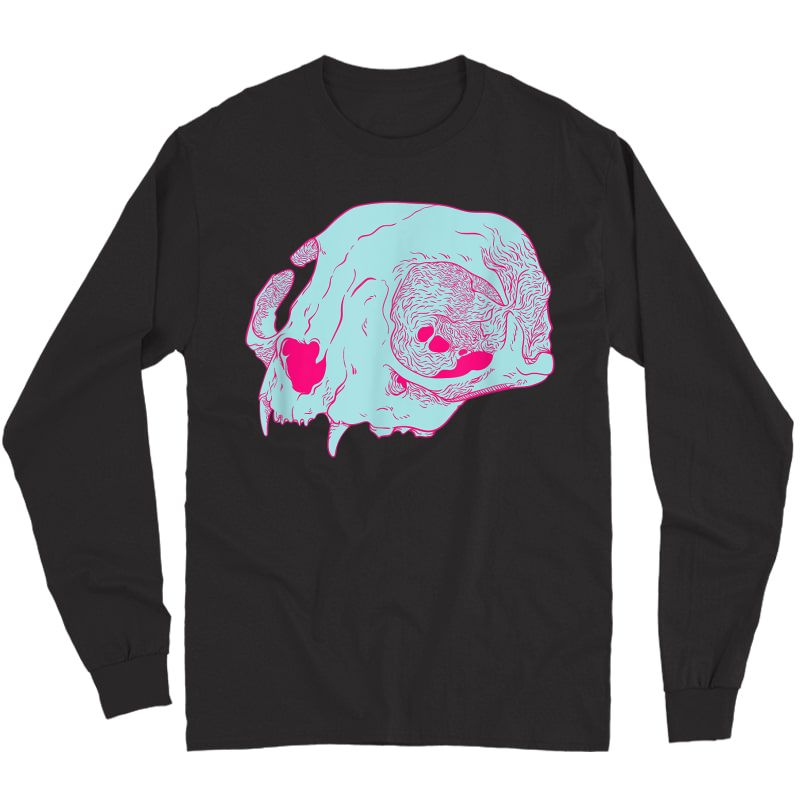 Cat Skull I Pastel Goth Soft Grunge Hipster T-shirt Long Sleeve T-shirt