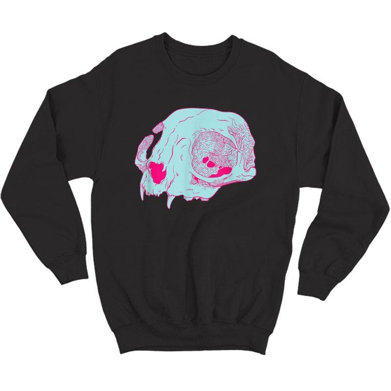 Cat Skull I Pastel Goth Soft Grunge Hipster T-shirt Crewneck Sweater