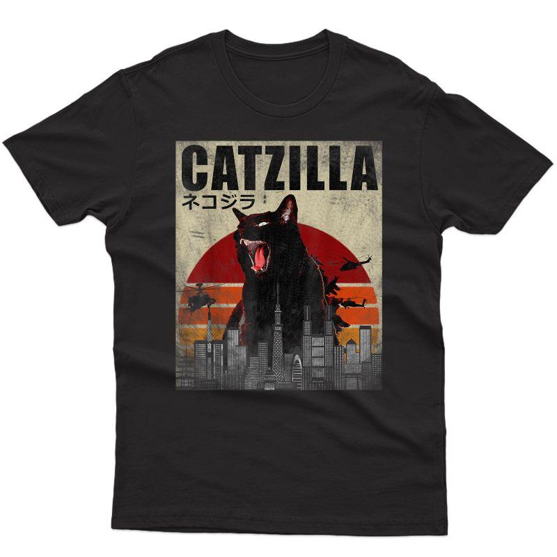 Catzilla, Funny Cat, Japanese Sunset T-shirt