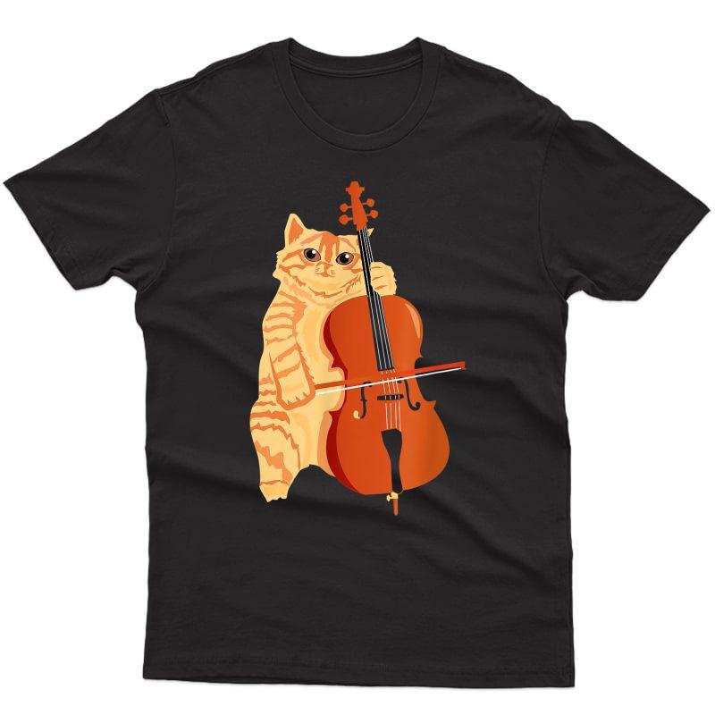 Cello Cat Kitten Bow Instrut Player Shirt Cellist Gift T-shirt