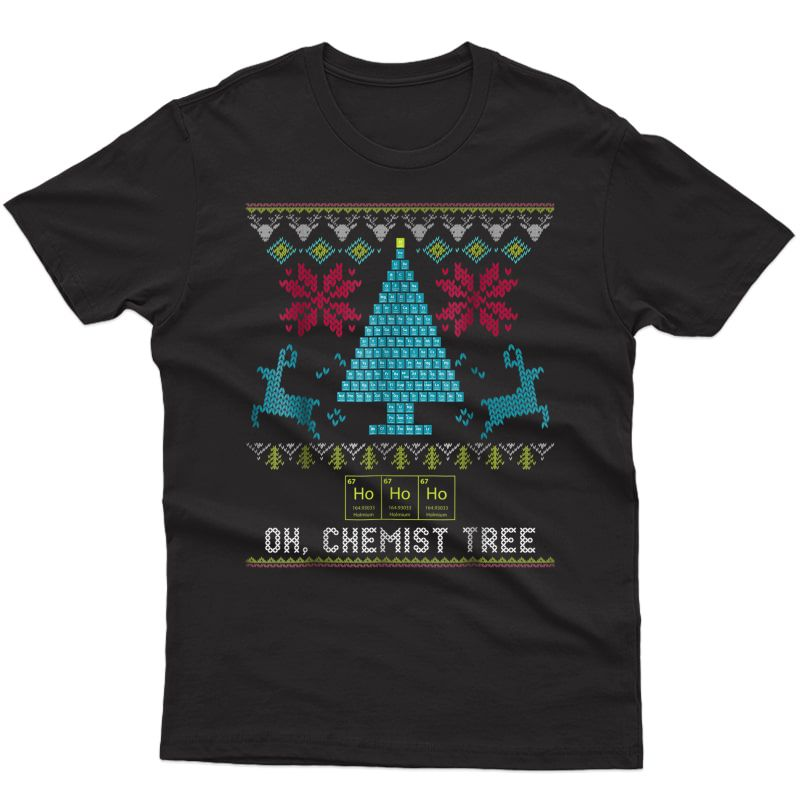 Chemist Tree Christmas T-shirt With Science Periodic Table