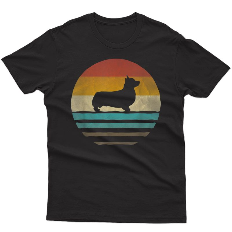 Corgi Dog Shirt Retro Vintage 70s Silhouette Breed Gift