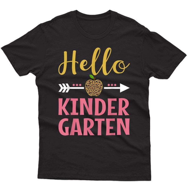 Cute Hello Kindergarten Back To School Girls Tea Leopard T-shirt