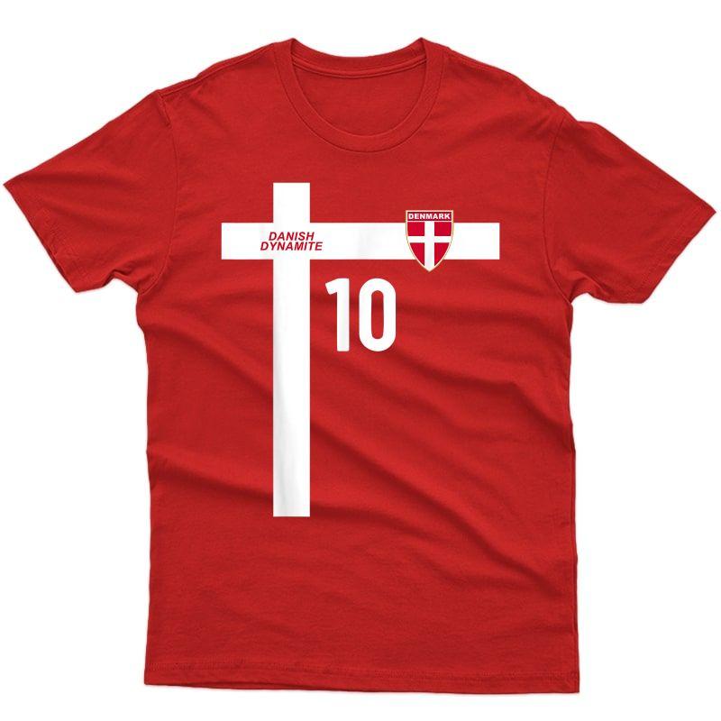 Denmark National Football Team Soccer Retro Number 10 T-shirt