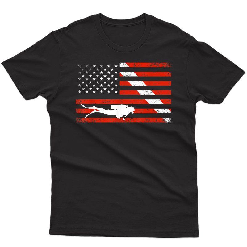 Diver Down Dive Flag Scuba Diving American Flag T-shirt