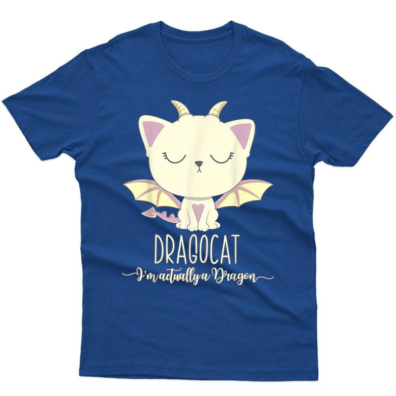 Dragon Cat Shirt Cute Kitten Lover Tee Japanese Monster Gift
