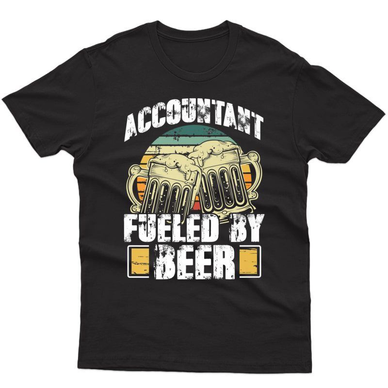 Funny Accountant Fueled By Beer Vintage Drinking Gift Premium T-shirt
