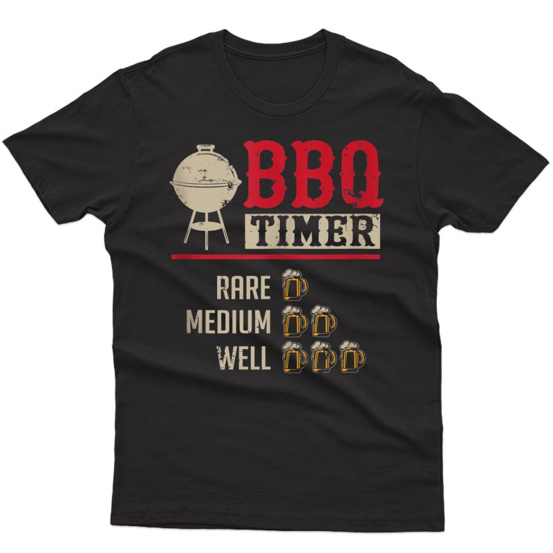 Funny Bbq Meat Cooking Timer Beer Grill Chef Barbecue Gift Tank Top Shirts