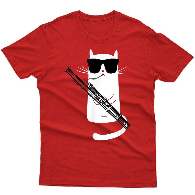 Funny Cat Wearing Sunglasses Playing Bassoon Shirt