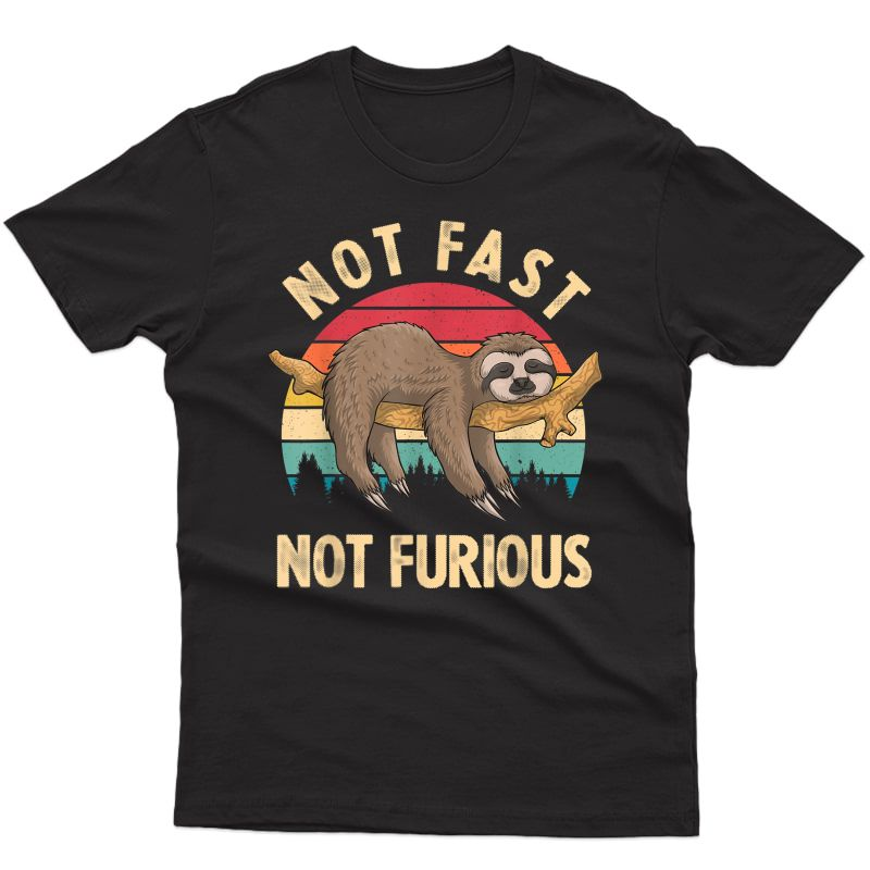 Funny Sloth Not Fast Not Furious Sloth Quote Cute Sloth Gift T-shirt