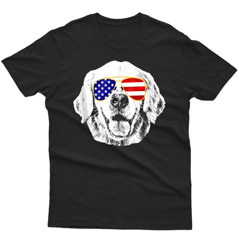 Golden Retriever American Flag Sunglasses 4th Of July Dog Tank Top Shirts