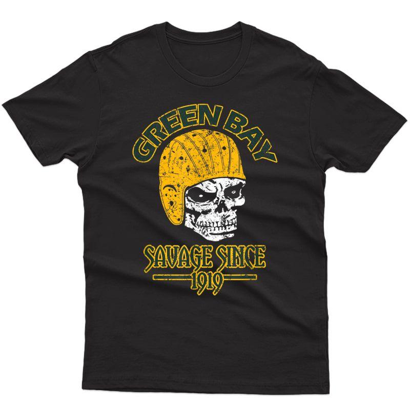 Green Bay 100 Year Anniversary Yellow Vintage Skull Football T-shirt