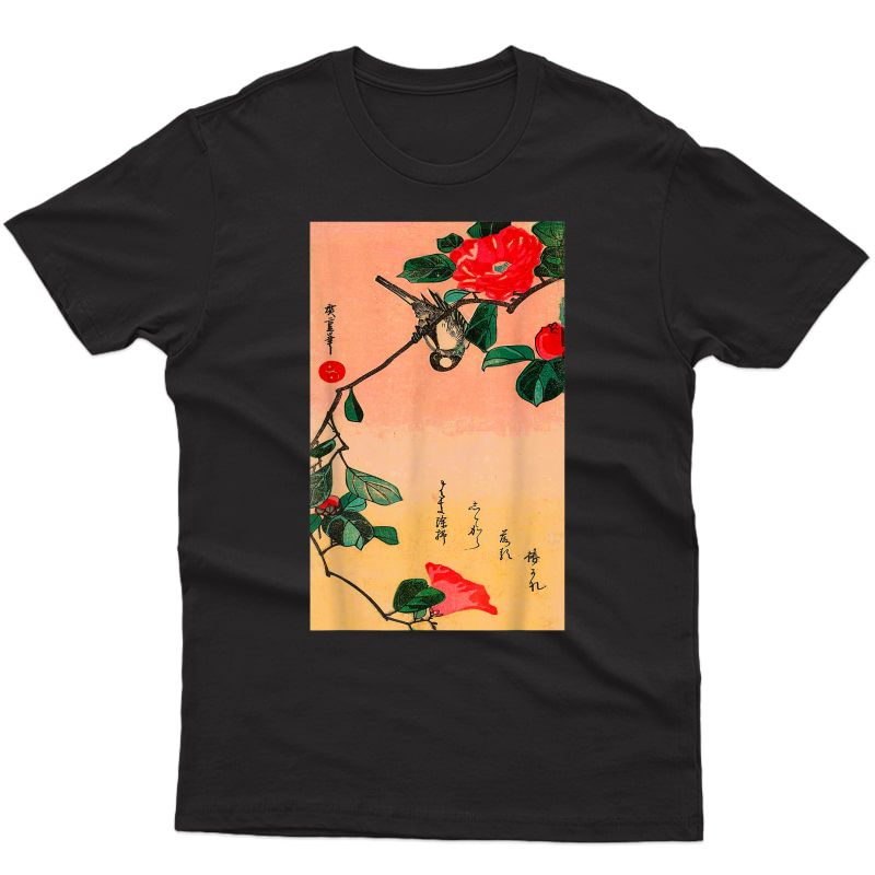 Japanese Art Sunset Bird Ry Blossom Graphic T-shirt