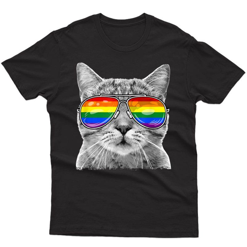 Lgbtq Purride Ally Gay Pride Rainbow Flag Cat Kitten Lover T-shirt