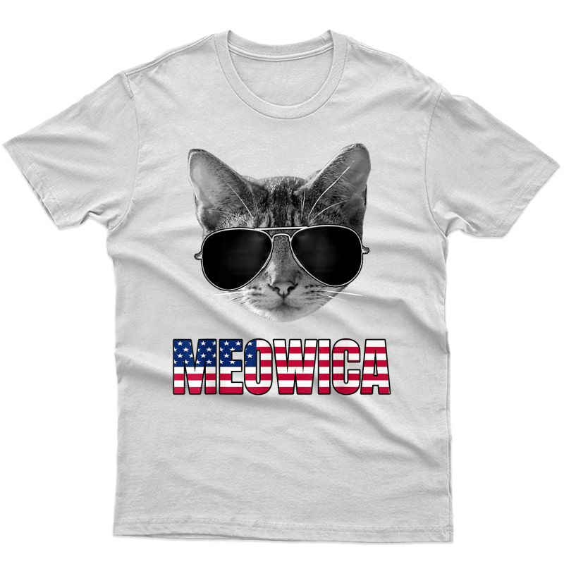 Meowica Funny 4th Of July Cat Usa American Flag T-shirt
