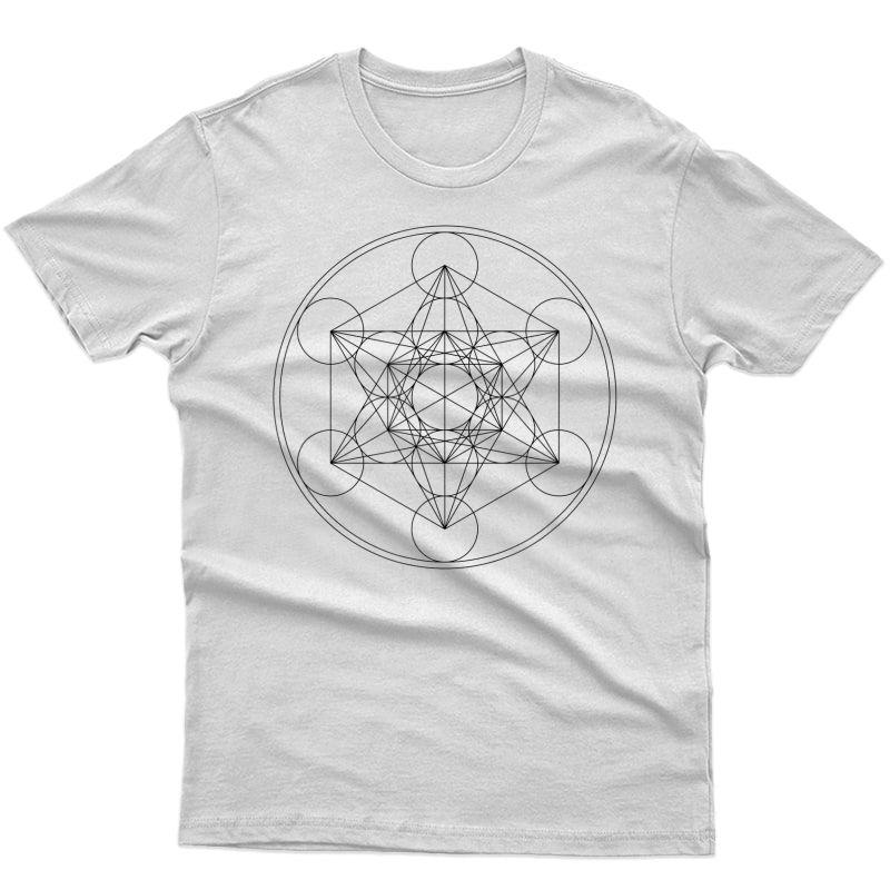 Metatrons Cube Sacred Geometry Yoga Spiritual Symbol 4d T-shirt