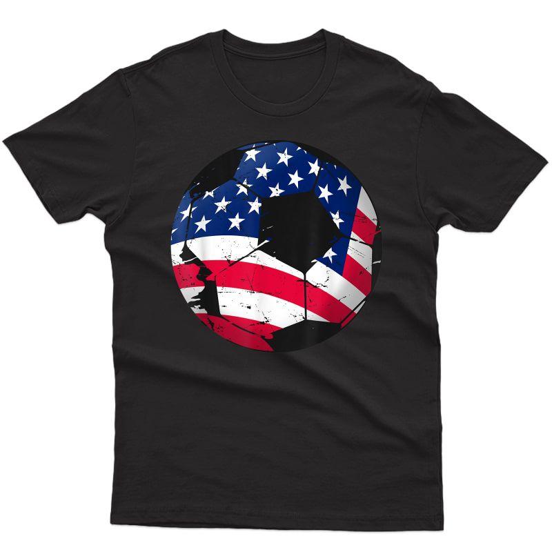 Patriotic Boy Girl American Flag Usa Soccer 4th Of July T-shirt