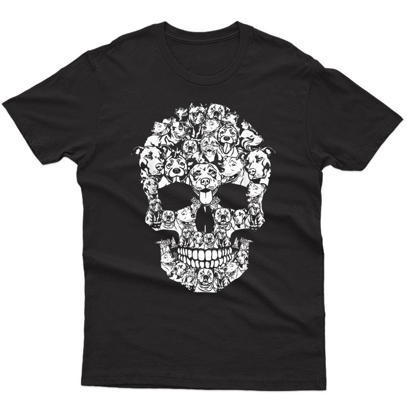 Pitbull Dog Halloween Skull Funny Horror Costumes T-shirt