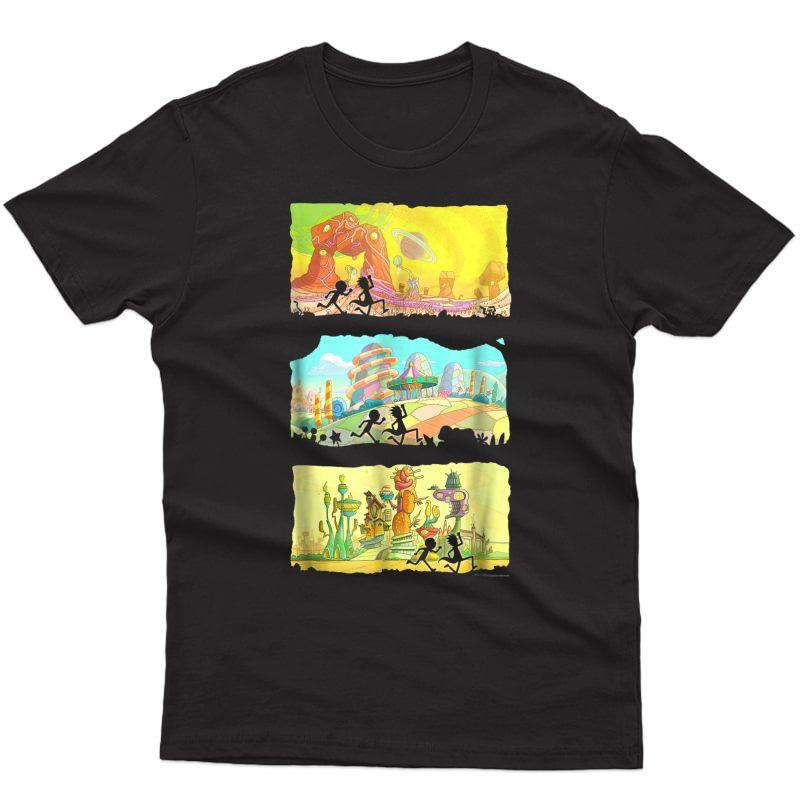 Rick & Morty Running Silhouettes On Alien Land T-shirt