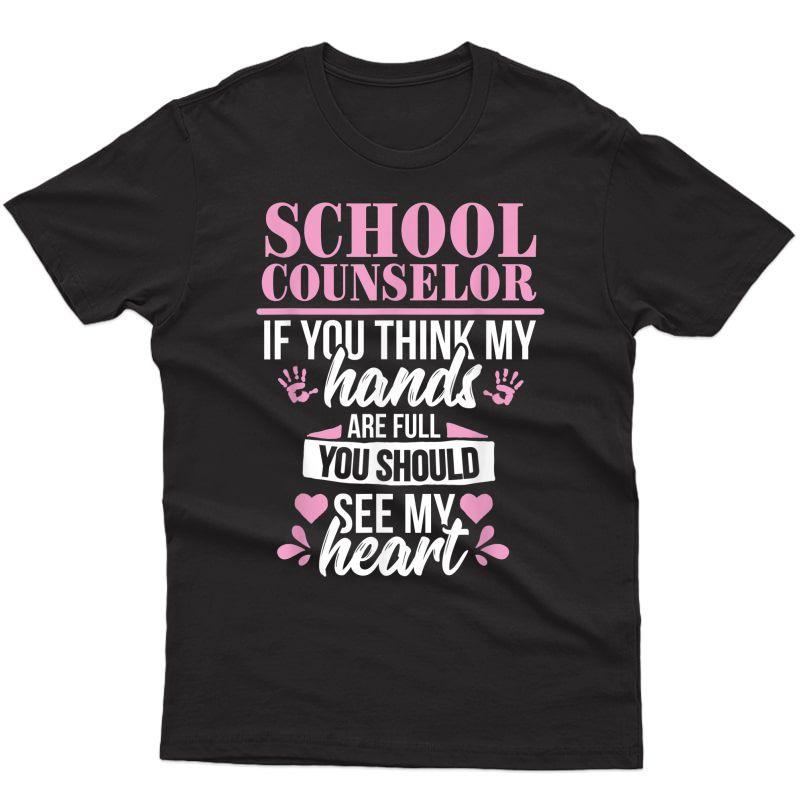 School Counselor Heart Tea Guidance Appreciation Gift T-shirt