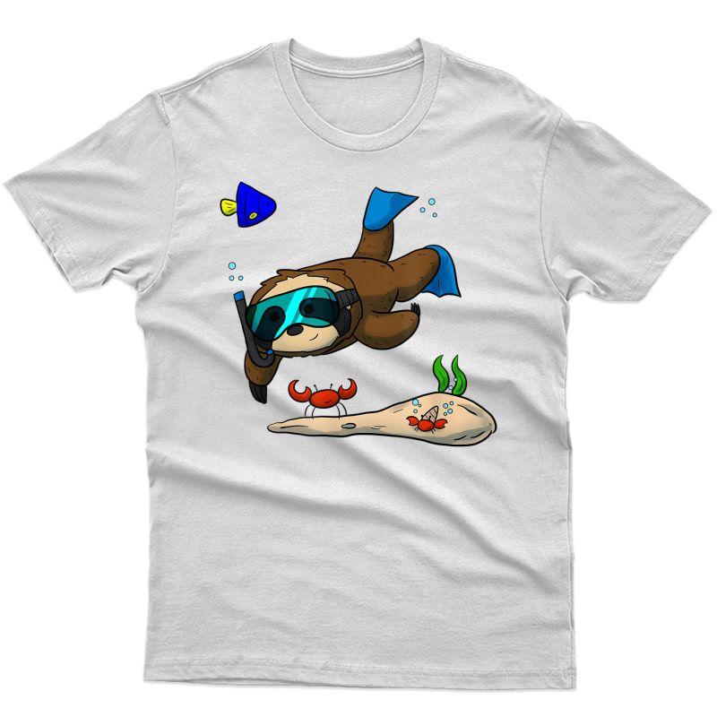 Scuba Diving Snorkeling Sloth Crab I Gift Idea T-shirt