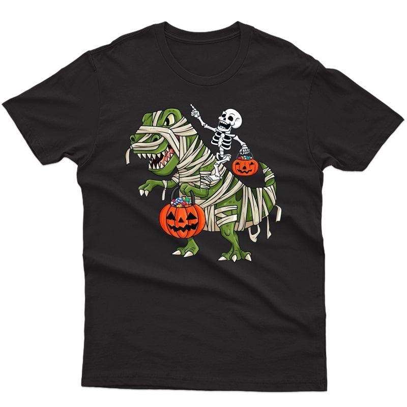 Skeleton Riding Mummy T Rex Halloween Girls T-shirt