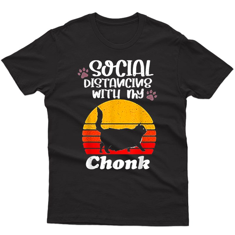 Social Distancing With My Chonk Retro Vintage Sunset Fat Cat T-shirt