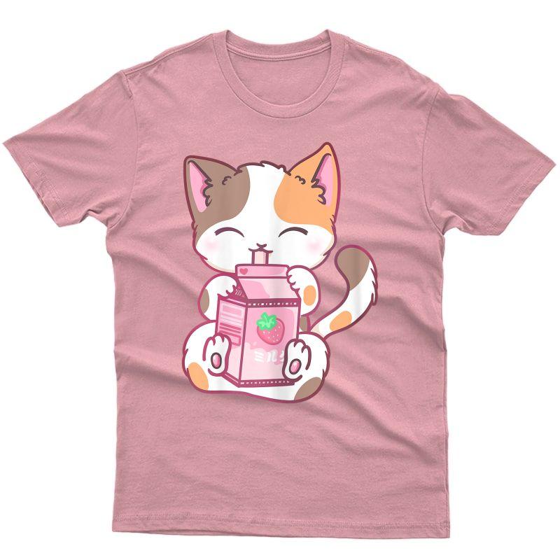 Strawberry Shake Strawberry Milk Cat Kawaii Neko Anime T-shirt