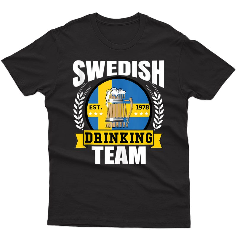 Swedish Drinking Team Funny Sweden Flag Beer Party Gift Idea Tank Top Shirts