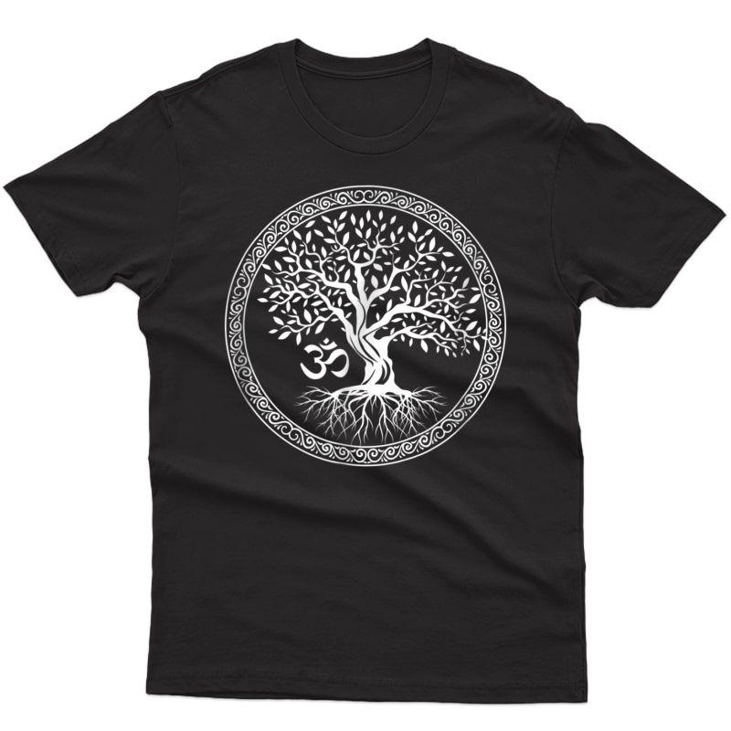 Tree Of Life With Om Symbol Yoga T-shirt
