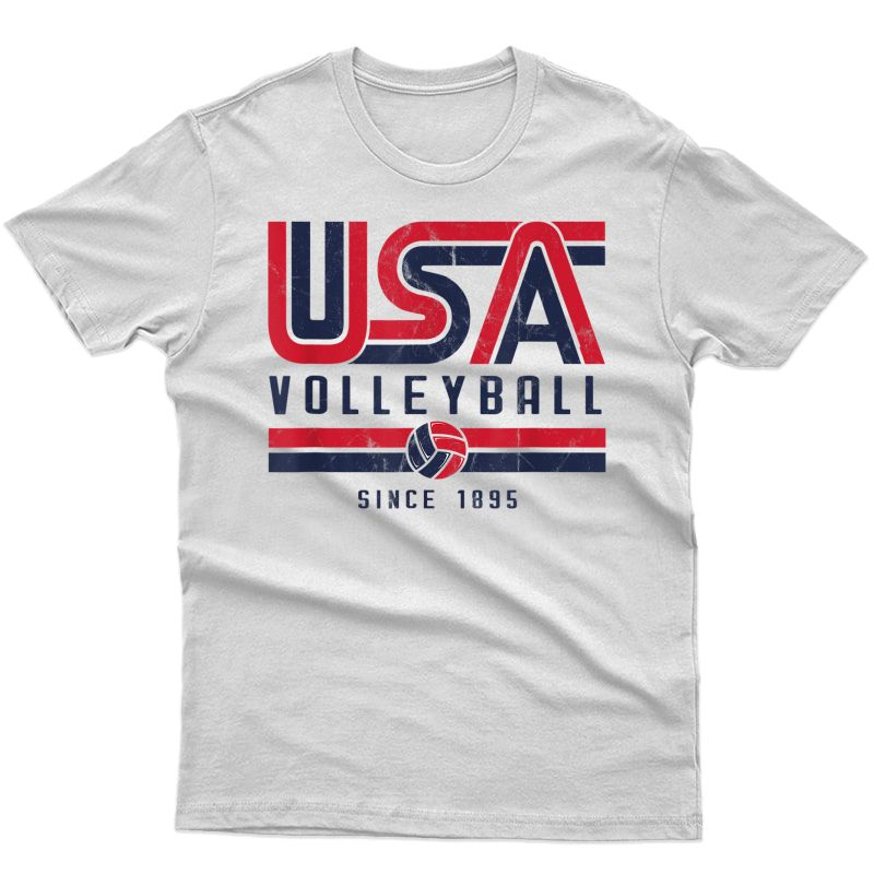 Usa Distressed Effect Classic Volleyball Design Red And Blue T-shirt