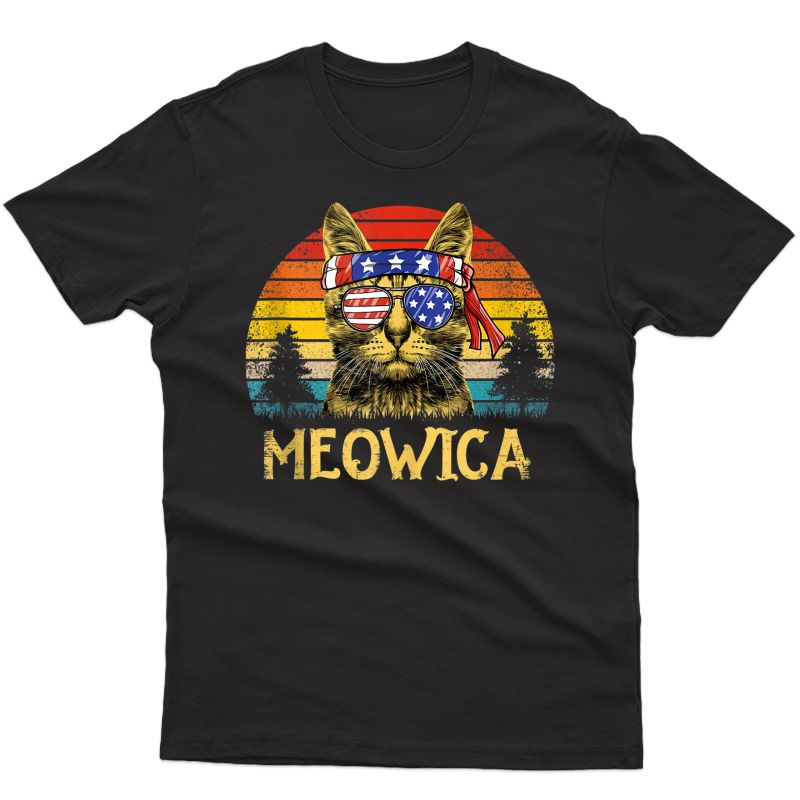 Vintage Meowica 4th Of July Shirt Retro Cat Patriotic Gift Tank Top
