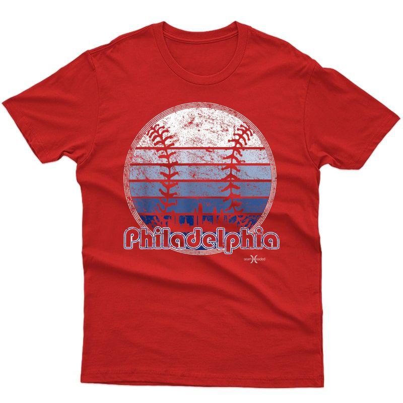 Vintage Philadelphia Baseball Sunset With Philly Skyline T-shirt