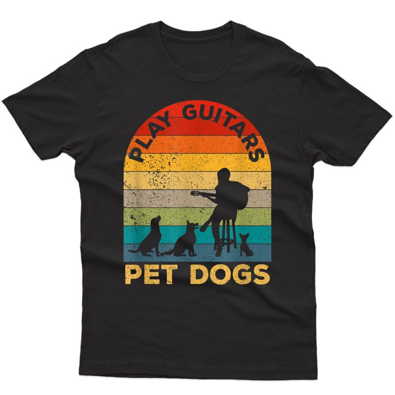 Vintage Play Guitars Pet Dogs - Dog And Music Lovers Gifts T-shirt