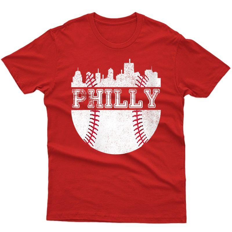 Vintage Philadelphia Baseball Retro City Skyline Philly Fan T-shirt